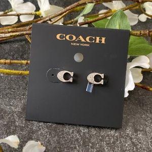 COACH NWT Silver Signature Stud Earrings